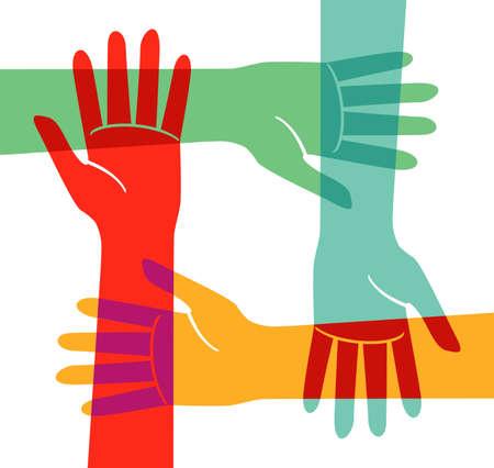 Four hands hold other people's wrists Ilustração