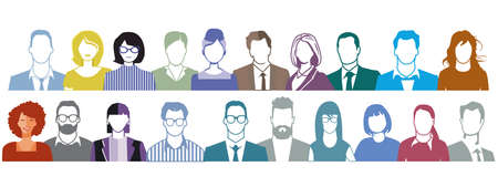 Large group of people portrait, faces illustration on white