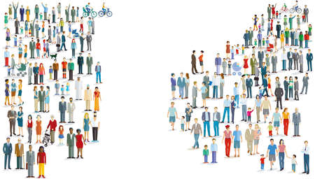 Crowd in the panorama, isolated, illustration
