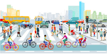 Cyclists on the bike path in the city with road traffic and pedestrians Ilustração