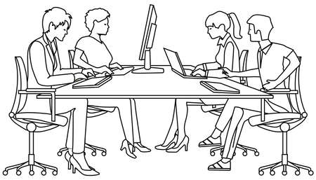 Group of people studying on PC - vector illustration Ilustração