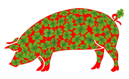 Lucky pig with lucky clover Ilustração