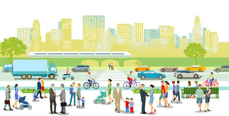 City with road traffic, apartment buildings and pedestrians on the sidewalk Ilustração