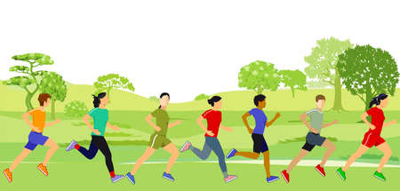 a group of athletes run in nature