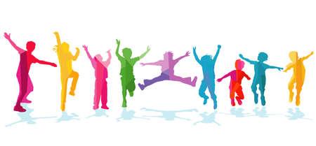 happy children rejoice and cheer
