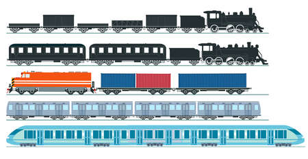 Express train freight train steam locomotive, railroad car. Freight, set - vector illustration