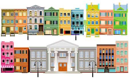 Facade of old buildings, illustration Stock fotó - 156027840