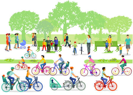 Cyclists and pedestrians in the park Ilustração