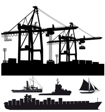 Port terminal with ships vector illustration