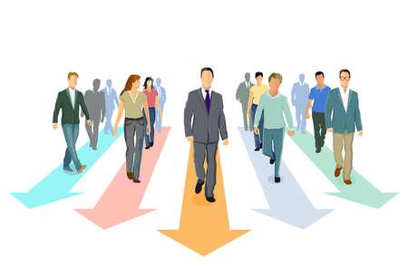 Direction forward and progress together, concept illustration