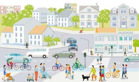 City silhouette with people and road traffic, illustration Ilustração