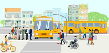 Public transport with bus stop, vector illustration Ilustração