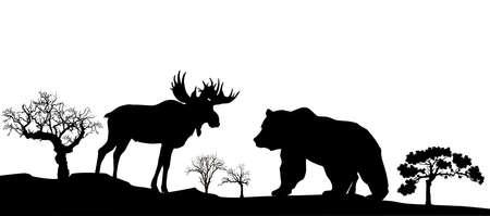 Bear and elk black and white image, vector Ilustração