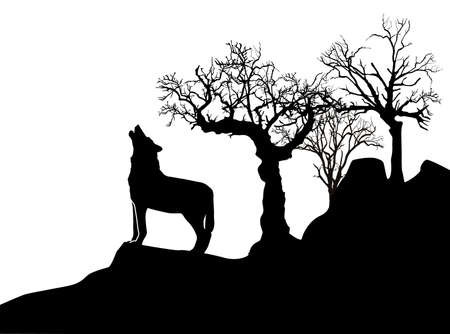 icy wolf howling, black and white image, vector