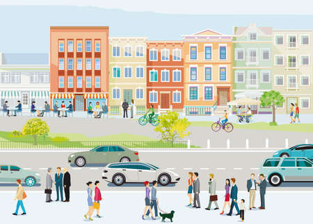 City silhouette of a small town with people in leisure time, and road traffic, illustration