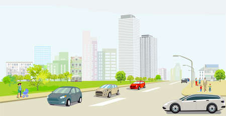 City silhouette with country road. People and road transport, illustration