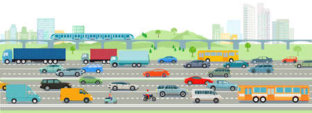 Highway and big city illustration Ilustrace