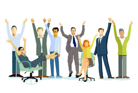 cheerful business group in community - vector illustration
