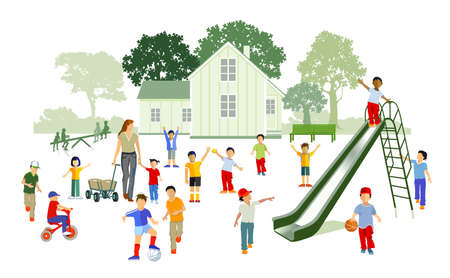 Children playing in kindergarten - illustration