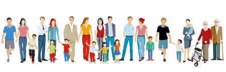 Family groups generations together vector illustration Ilustração