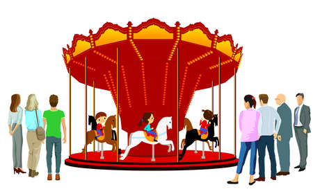 Children's carousel with children. Isolated illustration on a white background.