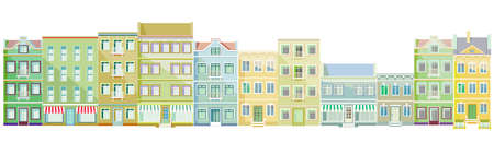 Buildings in a row, real estate, exterior of buildings, apartment buildings