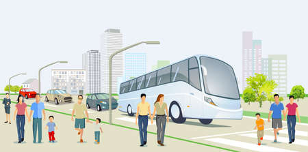 City with road traffic, skyscrapers, apartment buildings and pedestrians on the sidewalk, illustration Ilustração