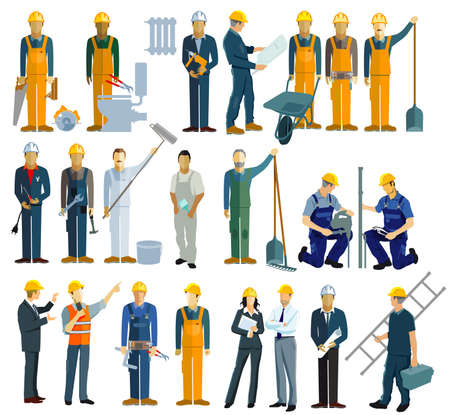 a group of craftsmen, construction workers and technicians, architects