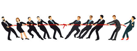 Tug of war. Teams pulling against each other at opposite ends of a rope compete for supremacy of companies or market control. Business concept illustration