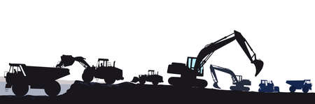 Excavator with bulldozer when loading