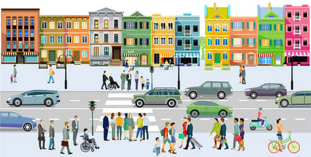 City with road traffic, apartment buildings and pedestrians on the sidewalk, illustration Ilustração