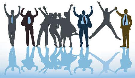 Happy successful team cheer and are confident Ilustração