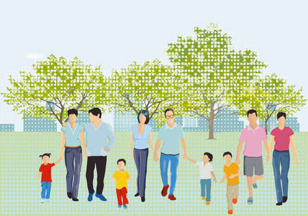 Leisure time with family in the park in spring Ilustração