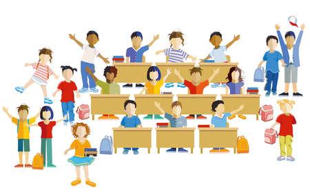 Schoolchildren happily together, vector illustration Ilustração