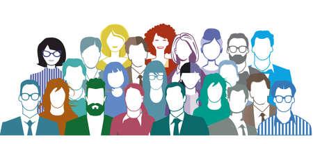 Group of people portrait, team group - vector illustration Ilustração