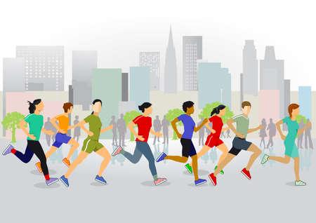 Running in the city illustration