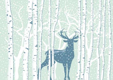 Deer in winter landscape with snowflakes Zdjęcie Seryjne - 159751232