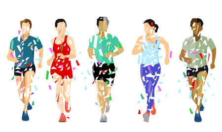 a group of runners on white background, Ilustracja