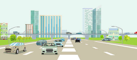 Expressways in front of a big city illustration Ilustracja