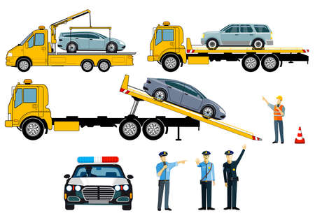 Cars on tow truck with police, isolated on white background. - vector illustration Ilustracja
