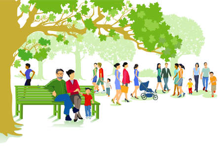 green city park with families and people