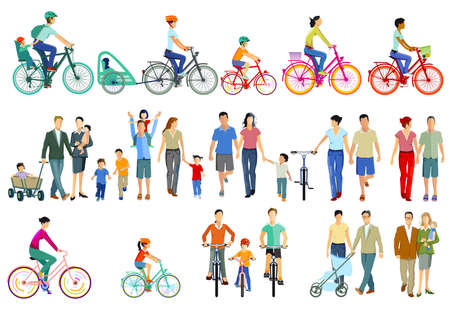 Families, cyclists and pedestrians illustration