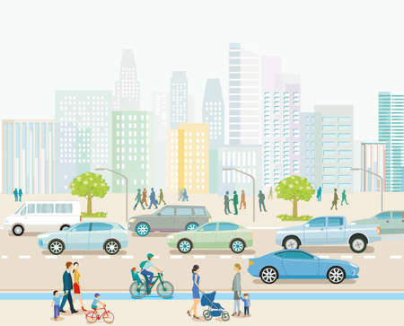 City with road traffic, apartment buildings and pedestrians on the sidewalk, illustration Ilustracja