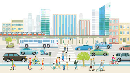 City with road traffic, skyscrapers, apartment buildings and pedestrians on the sidewalk, illustration Zdjęcie Seryjne - 160308545