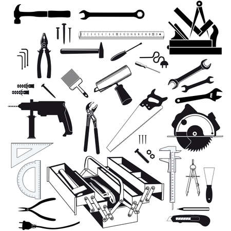 Hand tools and measuring instruments white background, isolated illustration