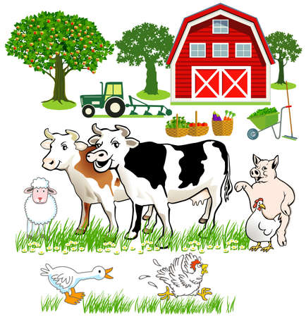 friendly Cows and pigs, chickens with a farm