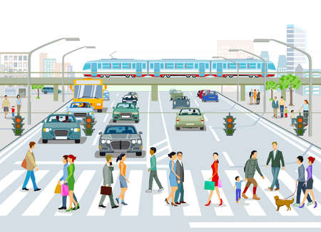 Transport by elevated train, bus and road traffic Illustration Ilustracja