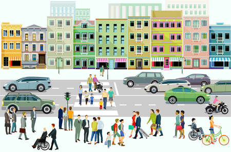 City with road traffic, apartment buildings and pedestrians on the sidewalk, illustration Zdjęcie Seryjne - 160524914