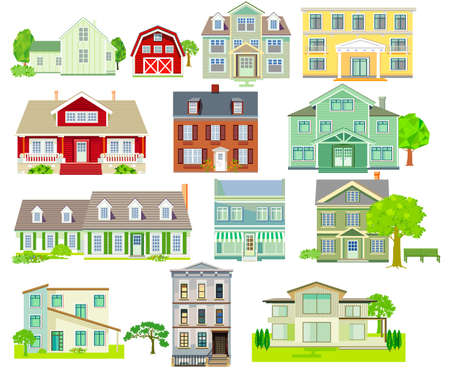 Set of various family houses and apartment houses, country houses, wooden houses