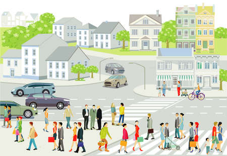 City silhouette with people and road traffic, illustration Ilustracja